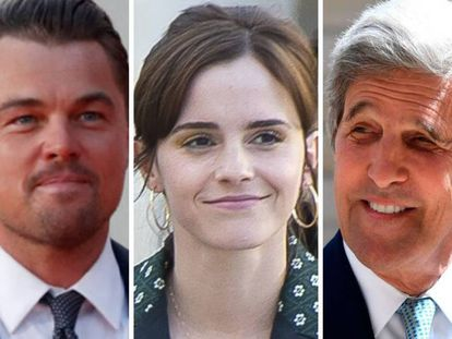 Leonardo DiCaprio, Emma Watson y John Kerry.