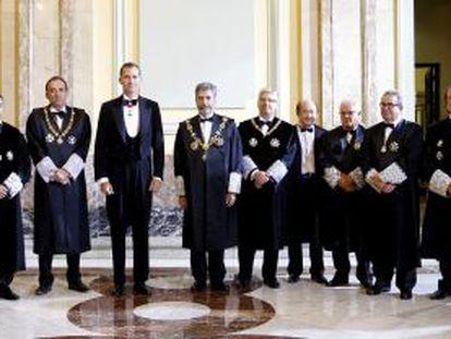 El Rey y la Sala de Gobierno del Supremo en la apertura del año judicial, el pasado 8 de septiembre.
