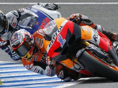 Stoner, seguido por Lorenzo en el Gran Premio de España.