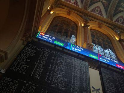 Vista de una de las pantallas de la Bolsa de Madrid.