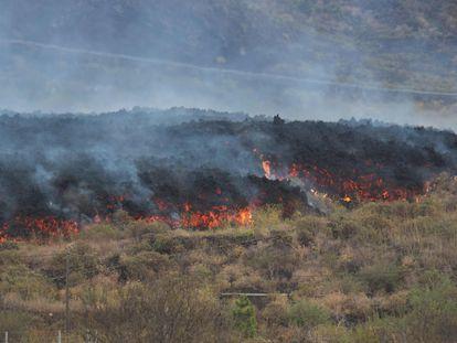 La lava avanza en Los Campitos, en Los Llanos de Aridane, durante este lunes.