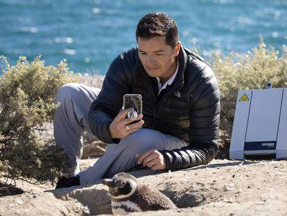 El conservacionista argentino Pablo García Borboroglu recopilando datos sobre la población de pingüinos de la Patagonia. ©Rolex/Tomas Bertelsen
