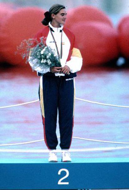 Natàlia Via-Dufresne, en el podio de Barcelona.