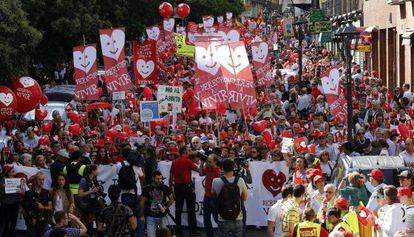 Una manifestación en contra del aborto, el pasado domingo en Madrid.