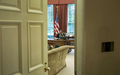 El presidente Obama en el Despacho Oval.