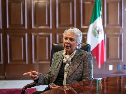 Olga Sánchez Cordero, en un lance de la entrevista en el Senado.