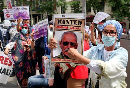 Manifestación contra Brahim Gali, presidente de la República Árabe Saharaui Democrática, ante la Audiencia Nacional, el pasado mes de junio.