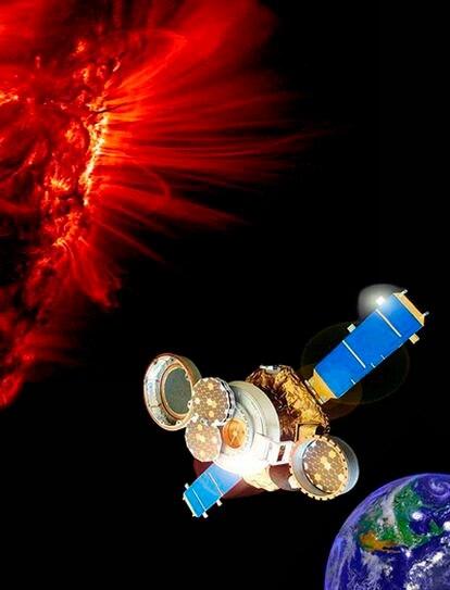 Ilustración de la sonda espacial <i>Génesis</i> que capturó muestras de viento solar a 1.500 millones de kilómetros de la Tierra.