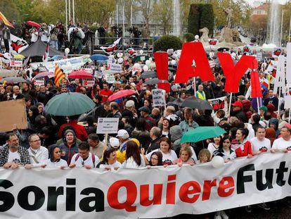 Manifestación en Madrid de la España vaciada, el 31 de marzo de 2019.