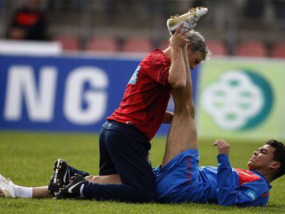 El jugador del Madrid se entrena por primera vez desde que se lesionó de la rodilla con la selección portuguesa.