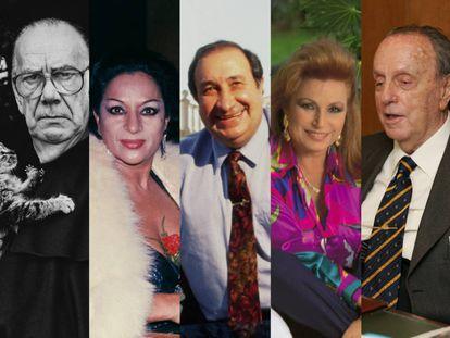 De izquierda a derecha, Camilo José Cela, Lola Flores, Jesús Gil, Rocío Jurado y Manuel Fraga.