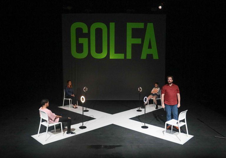 Ensayo de la obra teatral 'Golfa', en el Teatro Galileo.