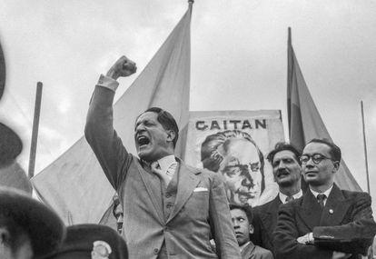 Icónica imagen de Gaitán en un acto público que sirvió para la elaboración de afiches.