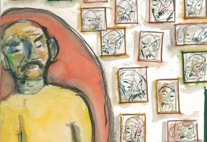 Autorretrato de José Hierro, realizado en 1992.