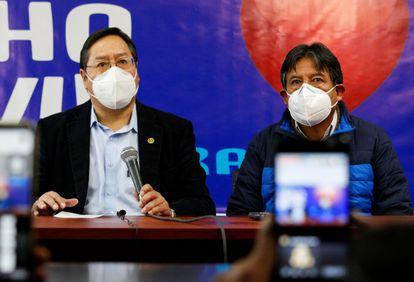 Los candidatos Luis Arce y David Choquehuanca, de la fórmula presidencial del MAS, en La Paz, el 8 de agosto.