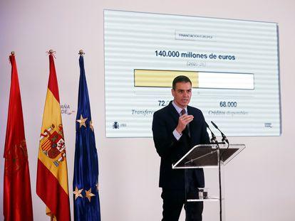 """Pedro Sánchez durante la presentación de """"España Puede"""", el Plan de Recuperación, Transformación y Resiliencia de la Economía Española."""