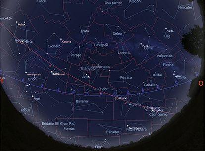 Mapa del cielo visible desde una latitud 40º N el 15 de septiembre de 2009 a las 3.00. Para horas posteriores, habrá constelaciones que se habrán puesto por el horizonte Oeste, mientras que otras habrán salido por el Este.