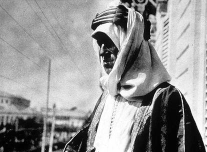El aventurero T. E. Lawrence, durante la rebelión árabe.