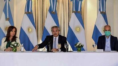 El presidente Alberto Fernández anuncia en Buenos Aires la propuesta de pago de la deuda externa argentina, el 16 de abril.