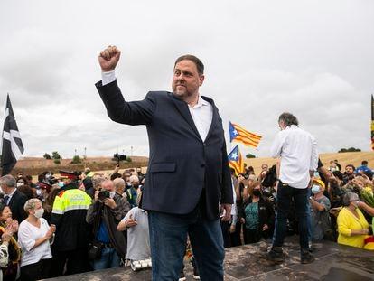 Oriol Junqueras, el miércoles a su salida de la cárcel de Lledoners gracias a los indultos aprobados por el Gobierno.