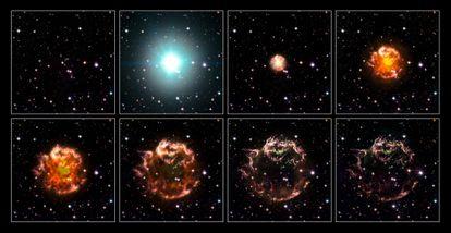 Casiopea A, con la recreación de la secuencia desde la supernova de 1680 hasta el remanente actual, formado por la nebulosa visible con los fragmentos de la estrella que explotó escindidos por el espacio.