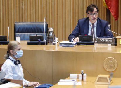 El ministro de Sanidad, Salvador Illa, comparece en la Comisión de Sanidad del Congreso celebrada este jueves sobre la evolución de la crisis del coronavirus.