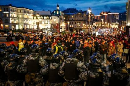 Concentración en apoyo de Alexei Navalny en Moscú, este miércoles.