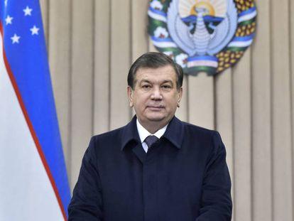 El presidente electo de Uzbekistán, Shavkat  Mirziyóyev, este domingo.
