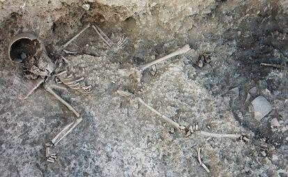 Esqueleto infantil hallado en el yacimiento de Libisosa (Albacete).
