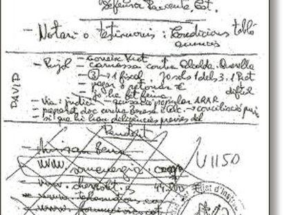 """Hoja manuscrita de Carles Manté que según la Guardia Civil incluye referencias a Oriol Pujol. En ella puede leerse: """"Carnaza contra el alcalde. Querella""""."""