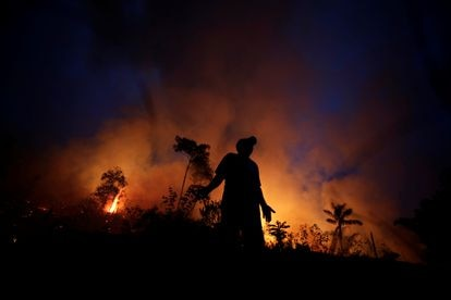 Un fuego arde para servir de barrera contra la propagación de un incendio en un tramo de la selva del Amazonas en Apui, el 11 de agosto de 2020.