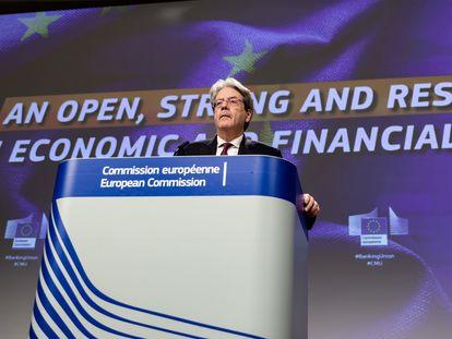 El comisario europeo de Economía, Paolo Gentiloni, en una rueda de prensa celebrada en enero en Bruselas.