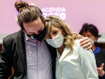 Cambio de Cartera Pablo Iglesias a Ione Belarra y Yolanda Diaz en el ministerio en Madrid, 31/03/2021