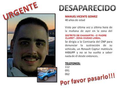 Cartel del desaparecido Manuel Vicente Gómez.