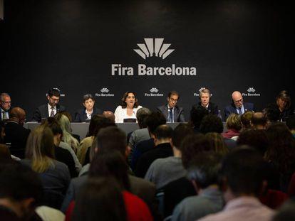 Rueda de prensa para informar sobre la cancelación del Mobile World Congress, en la Fira de Barcelona, en Barcelona, hoy.