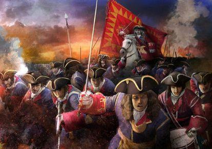 El contraataque de la milicia urbana barcelonesa, la Coronela, el 11 de septiembre de 1714, según las nuevas investigaciones. En primer término, la compañía del aguerrido gremio de sastres solteros. Rafael Casanova, a caballo.