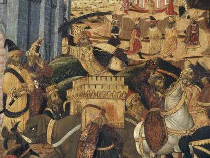Detalle del óleo de la victoria de Alejandro Magno sobre Alejandría por el maestro de San Miniato en la segunda mitad del siglo XV.