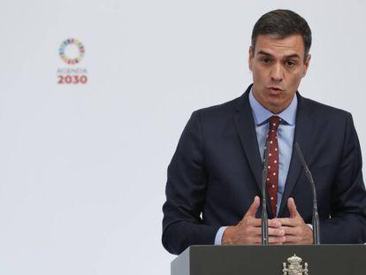 El presidente del Gobierno en funciones, Pedro Sánchez, este miércoles durante un acto con colectivos LGTBI en La Moncloa.