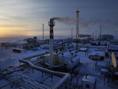 Instalación de gas y petróleo del gigante ruso Gazprom en el golfo del Obi, en el Ártico.