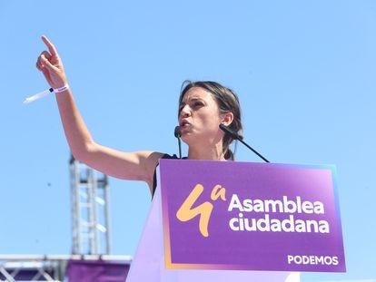 La ministra de Igualdad, Irene Montero, en la IV Asamblea Ciudadana Estatal de Podemos, el pasado domingo en Alcorcón (Madrid).
