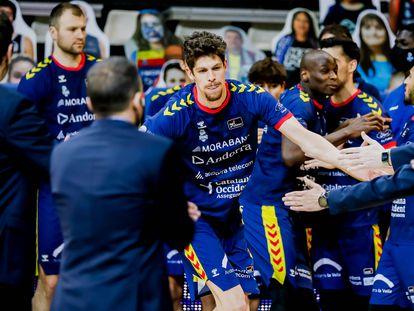 Presentación del Morabanc Andorra, con Oriol Paulí en primer término, antes de un partido de la ACB. acbphoto