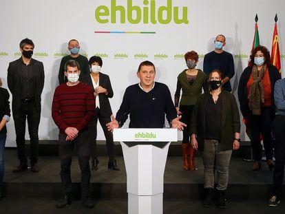 El actual líder de EH Bildu, Arnaldo Otegi, en una rueda de prensa celebrada esta semana.