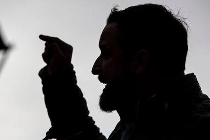 Santiago Abascal durante el acto electoral de Vox el pasado día 27.