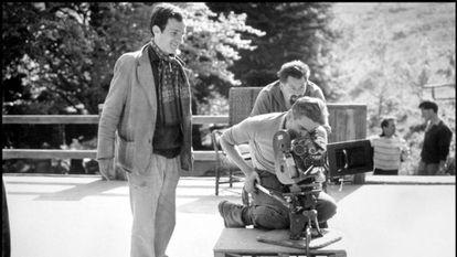 Truffaut y Coutard (detrás de la cámara), en el rodaje de 'Jules y Jim'.