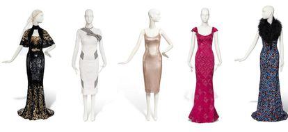 Cinco vestidos de Nicole Kidman vendidos por entre 9.500 y 7.000 euros. El primero lo llevó en los Oscar de 2013; el segundo es ecológico estaba inspirado en 'My Fair Lady'; el tercero fue el primero de L'Wren Scott sobre una alfombra roja (Roma, 2006); el cuarto lo llevó Kidman a unos premios de la música 'country' en Nashville en 2009, y el quinto en Cannes en 2013.