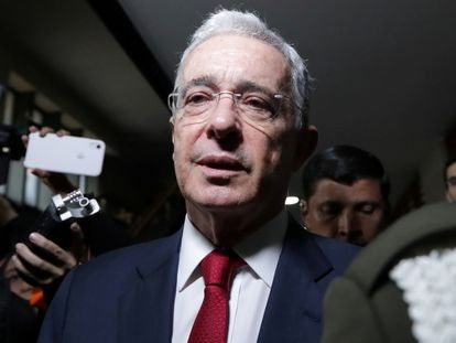 El expresidente colombiano Álvaro Uribe en la Corte Suprema, en una imagen de octubre de 2019.
