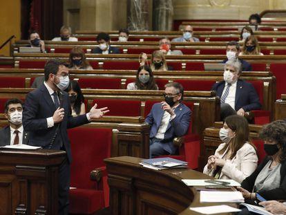 El presidente de la Generalitat, Pere Aragonès, ayer en el Parlament.