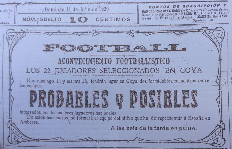 Cartel que anunciaba la celebración de un partido con los jugadores seleccionados para los Juegos Olímpicos de Amberes 1920.