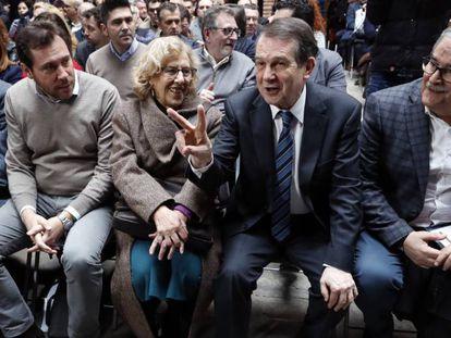 El alcalde de Sevilla,Juan Espadas; el de Valladolid,Öscar Puente, la de Madrid,Manuela Carmena; el de Vigo y presidente de la FEMP, Abel Caballero, y de Mieres, Anibal Vázquez, el pasado mes de febrero.