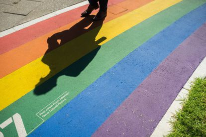 La sombra de un hombre se refleja sobre la bandera gay pintada en el suelo de una calle de Adelaida, en Australia.